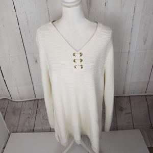 New Charter Club Tie Front V Neck Pullover Sweater